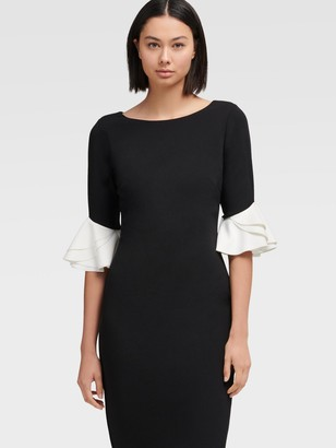 DKNY Bell Sleeve Midi Sheath Dress
