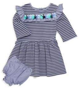Baby Girl's Two-Piece Striped Dress & Bloomers Set