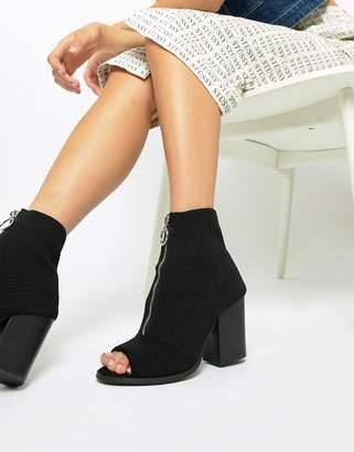 Asos Design DESIGN Ella zip knitted shoe boots