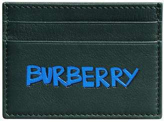 Burberry Graffiti Print Leather Card Case