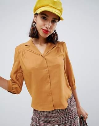 Noë Side Party notch collar pleated shoulder blouse