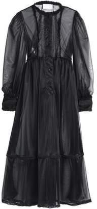 Maison Margiela Satin-Trimmed Pintucked Organza Maxi Dress