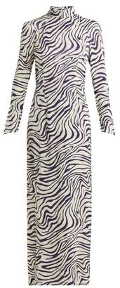 Bella Freud Okavango Satin Tiger Print Dress - Womens - White Navy