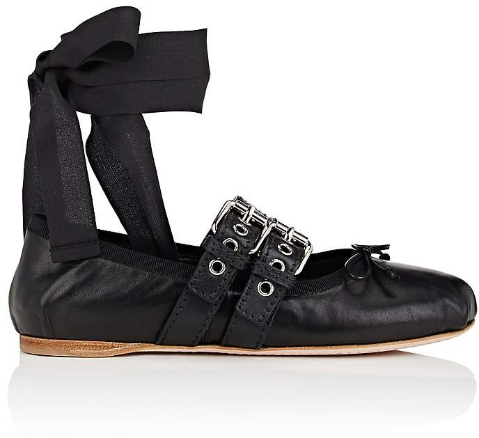 Miu Miu Women's Double-Buckle Leather Ankle-Tie Flats