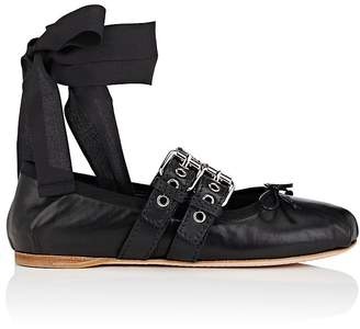 Miu Miu Women's Double-Buckle Leather Ankle-Tie Flats
