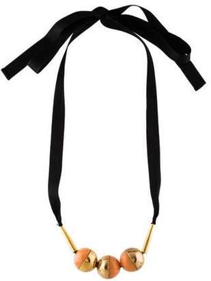 Marni Resin Sphere & Ribbon Collar Necklace