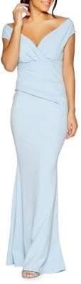 Quiz Off-the-shoulder Wrap Front Mermaid Dress