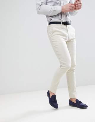 Asos DESIGN Wedding Super Skinny Suit Pants In Stone Linen