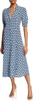 Diane von Furstenberg Lily Floral-Print Button-Front Short-Sleeve Silk Dress