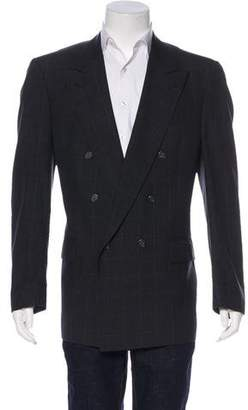 Burberry Vintage Double-Breasted Checked Wool Blazer