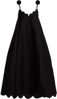 Vika Gazinskaya Scallop-edge pompom-shoulder maxi dress