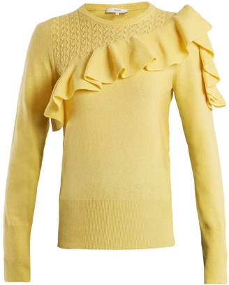 Dharma ruffle-trimmed knit sweater