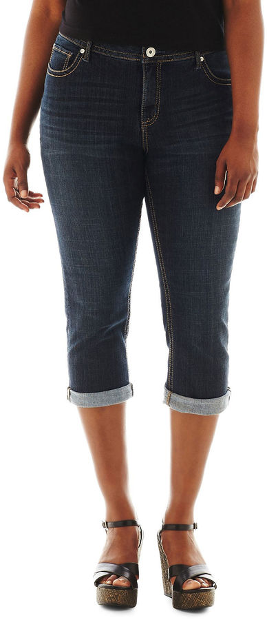 JCPenney A.N.A a.n.a Thickstitch Cropped Jeans - Plus