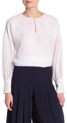 ABS by Allen Schwartz ESSENTIALS BY Front Keyhole Opening Blouse