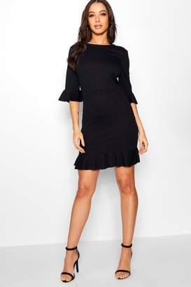 boohoo Frill Detail Midi Dress