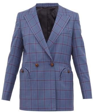 BLAZÉ MILANO Everyday Double Breasted Checked Wool Blazer - Womens - Grey Multi
