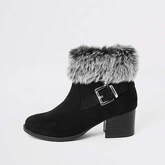 River Island Girls black faux hur heel ankle boot