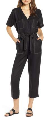 Moon River Contrast Stitch Belted Jumpsuit