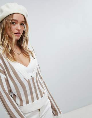 Honey Punch Relaxed V-Neck Sweater In Stripe