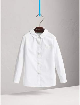 Burberry Peter Pan Collar Stretch Cotton Shirt , Size: 4Y, White