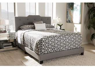 Baxton Studio Brunswick Modern Upholstered Panel Bed, Queen, Gray