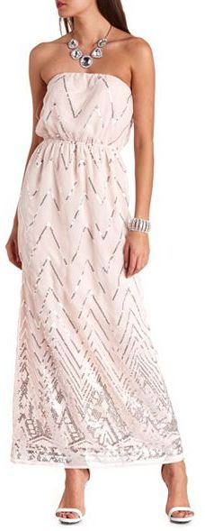Charlotte Russe Strapless Chevron Sequin Maxi Dress