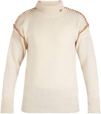Blanket Stitch Roll Neck Wool Sweater - Mens - White