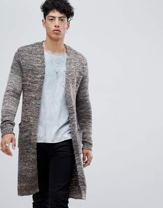 Asos DESIGN longline textured cardigan in brown space dye yarn
