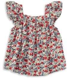 Ralph Lauren Little Girl's Flutter-Sleeve Floral Top