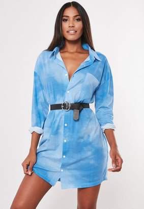 Missguided Blue Tie Dye Shirt Dress