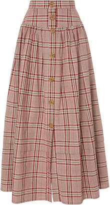 Freya Rejina Pyo Pleated Checked Cotton-Poplin Midi Skirt