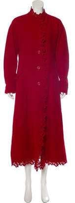 Issey Miyake Lace-Accented Long Coat