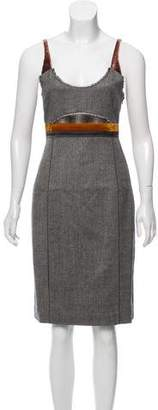 Calvin Klein Collection Sleeveless Herringbone Knee-Length Dress