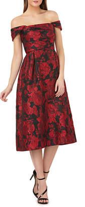 Carmen Marc Valvo Floral Brocade Off-the-Shoulder A-Line Dress