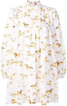 Ganni horse print flared dress
