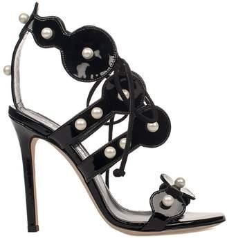 Black Patent Leather Heeled Sandal
