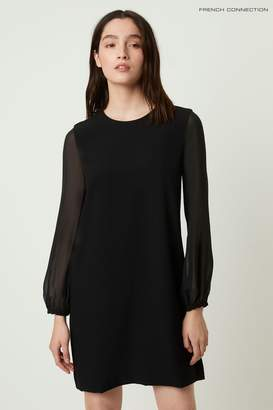 French Connection Womens Black Aada Crepe Sheer Sleeve Shift Dress - Black