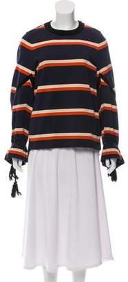 Sacai Striped Velvet-Trimmed Top