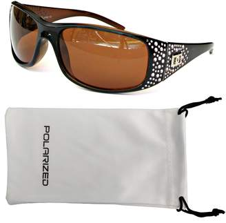 Vox Footwear Women's Polarized Sunglasses Designer Fashion Eyewear w/ Microfiber Pouch - Black & Amber Frame - Amber Lens