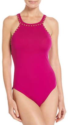LaBlanca La Blanca Deco Stud Embellished High-Neck One-Piece Swimsuit, Purple