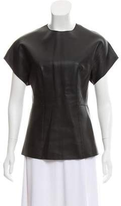3.1 Phillip Lim Leather Short Sleeve Top