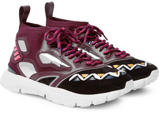 Valentino Heroes Reflex Suede, Leather and Mesh Sneakers - Burgundy