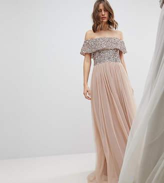 Maya Bardot Sequin Top Tulle Detail Dress With High Low Hem