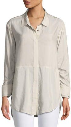 Halston Ruched-Sleeve Striped Shirt