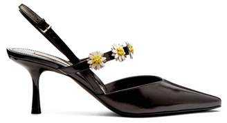 Bea Yuk Mui Fabrizio Viti Daisy Embellished Leather Slingback Pumps - Womens - Black White