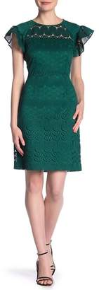 Trina Turk Mai Tai Lace Ruffle Sleeve Sheath Dress