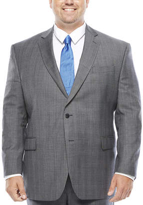 STAFFORD Stafford Super 100 Gray Glen Check Wool Suit Jacket - Big & Tall