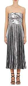J. Mendel WOMEN'S PLEATED SATIN STRAPLESS COCKTAIL DRESS-GRAY, PEWTER SIZE 6