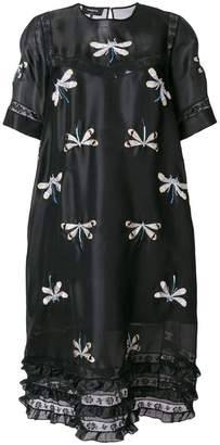 Rochas dragonfly embroidered peasant dress