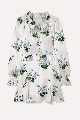 Les Rêveries Tie-front Ruffled Floral-print Silk-satin Mini Dress